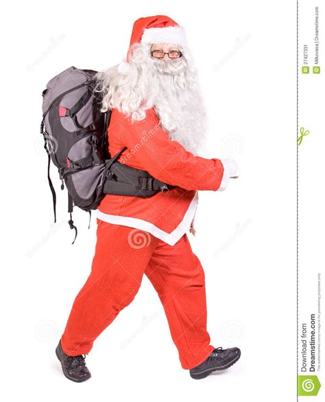 santa claus backpack santa claus with backpack stock image image 27427331