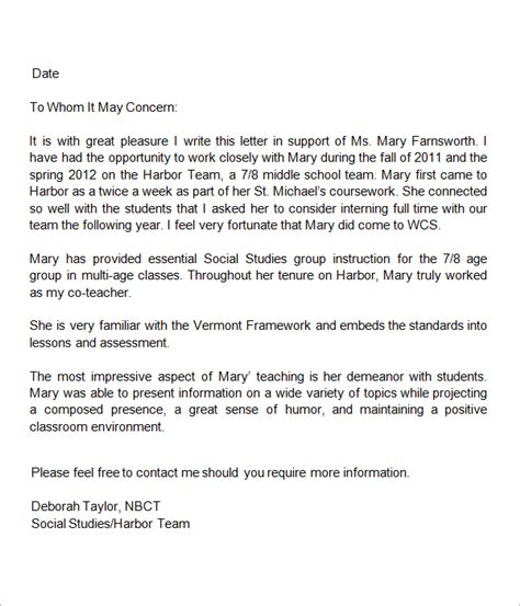 Reference Letter For Substitute Letters Of Recommendation For Teachers Letter Of Recommendation