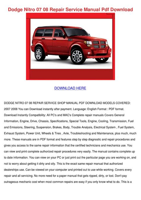 small engine repair manuals free download 2008 dodge durango electronic toll collection dodge nitro 07 08 repair service manual pdf d by ahmadvalle issuu