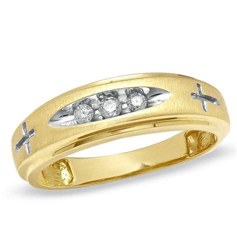 mens  ct tw diamond cross wedding band   gold
