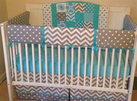 aqua and grey crib bedding crib bedding set aqua gray and white by butterbeansboutique