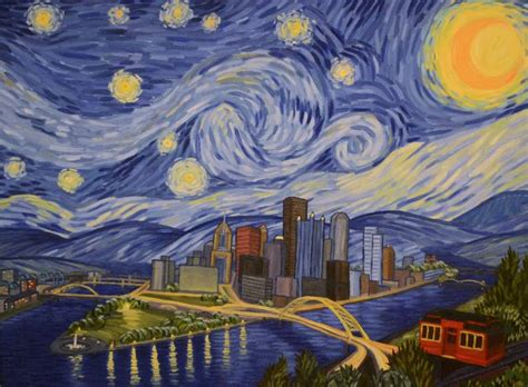 paint nite pittsburgh saatchi starry pittsburgh painting by