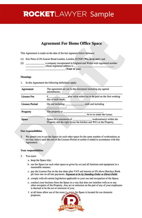 tenancy licence agreement template home office lease home office rental agreement template