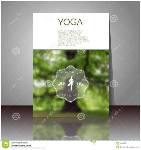 yoga vector poster cover design with blurred photo with