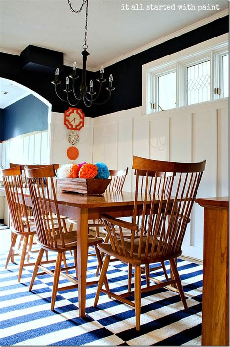 board and batten dining room navy and white walls