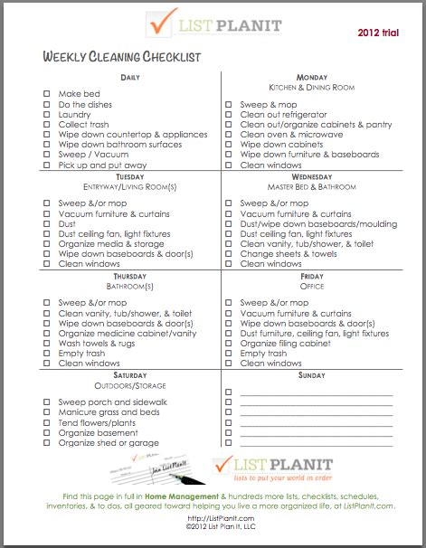 printable house cleaning checklist for maid weekly cleaning checklist weekly cleaning and cleaning