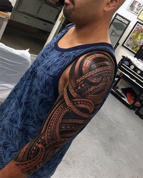 tribal half sleeve tattoos for men 75 half sleeve tribal tattoos for masculine design ideas