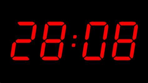 aftellende klok digital countdown timer in red color over black background