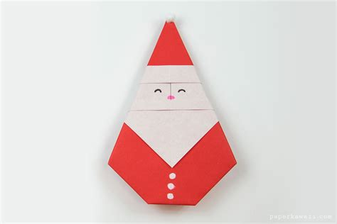 Traditional Origami - easy origami santa tutorial paper kawaii