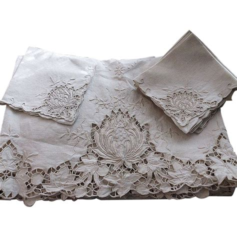 vintage madeira linen embroidered tablecloth napkins sold