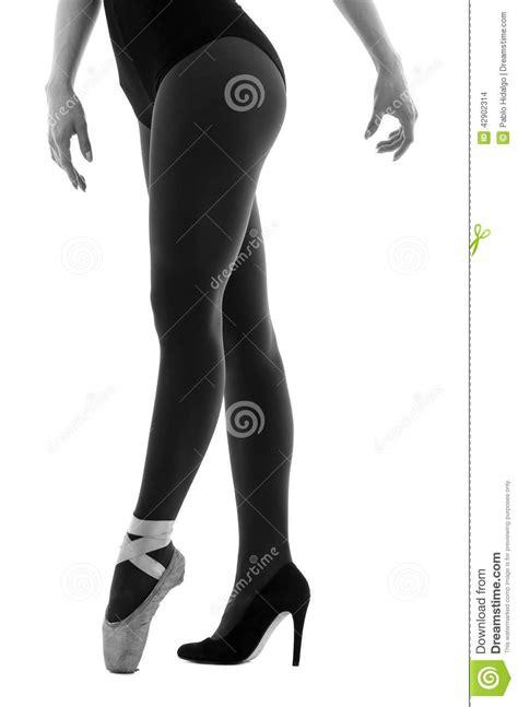 ballerina dancer wearing ballet and high heels stock photo