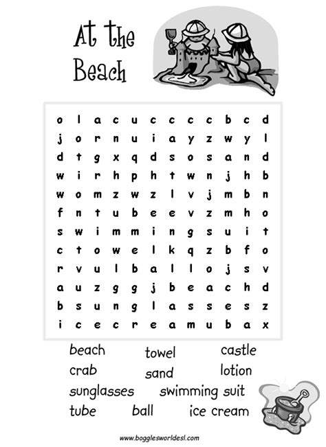 printable word search beach esl wordsearches