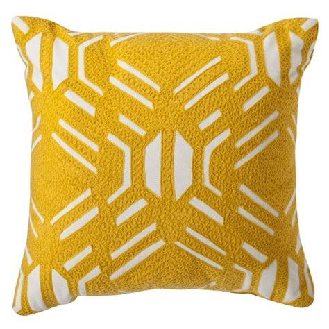 yellow patterned decorative throw pillow 16 quot x16 quot room