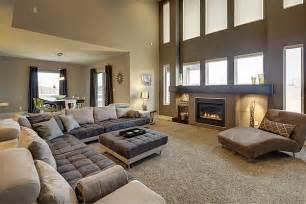 Brown Modern Family Room Living Widhalm Custom Homes Omaha Woodland Model Living Room