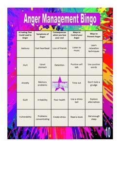 anger management bingo cards printable anger management bingo anger management bingo games and