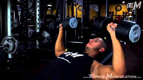 Developpe Incline Haltere by D 233 Velopp 233 Inclin 233 Aux Halt 232 Res Exercice De Musculation