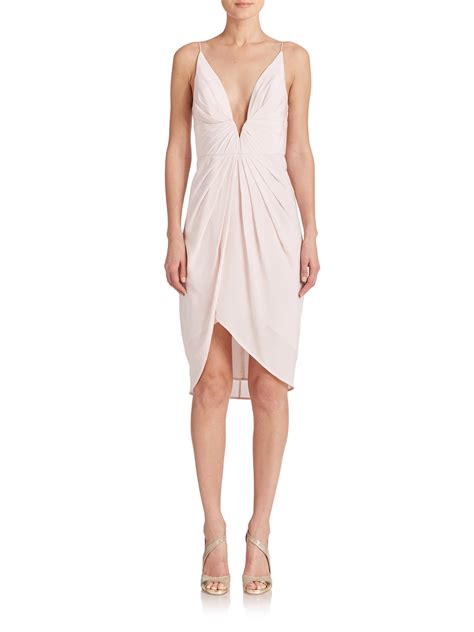 Silk Pink Dress lyst zimmermann silk v tuck dress in pink
