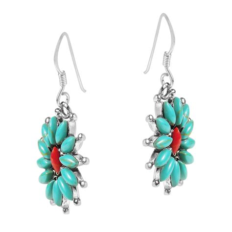 925 Sterling Silver Coral Earrings florals green turquoise coral 925 sterling