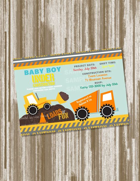 Construction Baby Shower Invitations by Construction Theme Baby Shower Invitation Set Of