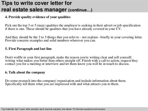 real estate cover letter sles real estate sales manager cover letter