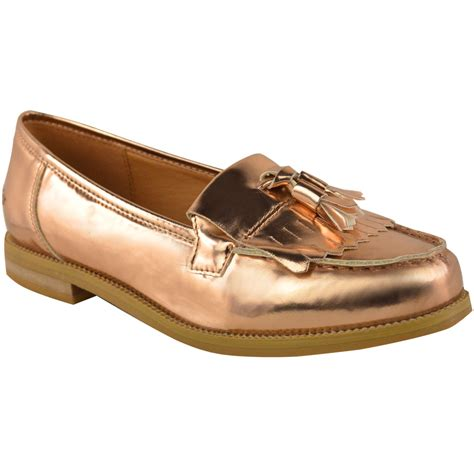 loafers shoes womens office flat casual patent faux leather