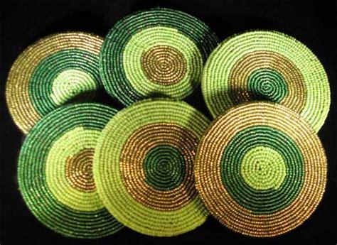 glass beaded coasters 6 zulu handmade glass trade bead coaster set