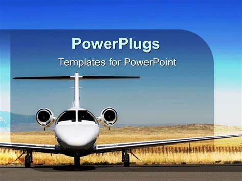 powerpoint template white airplane parked at airport