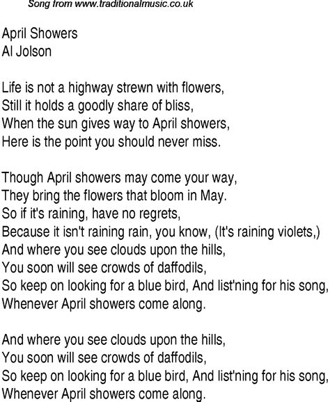 April Showers Song by 1940s Top Songs Lyrics For April Showers