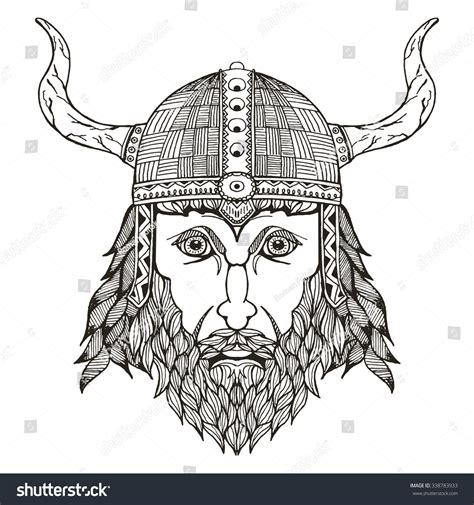 viking pattern vector ancient viking head helmet with horns zentangle stylized