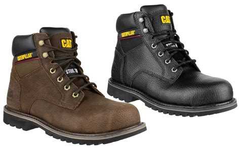 Caterpillar Leather Boots Safety Toe Black caterpillar electric 6 mens safety boots sb steel toe cap premium leather work ebay
