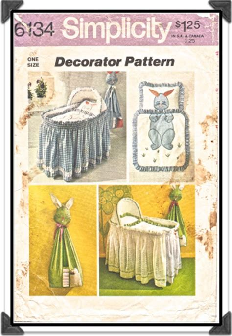 simplicity home decor patterns simplicity pattern 6134 home decor baby bassinet ruffle pillow comforter bunny rabbit