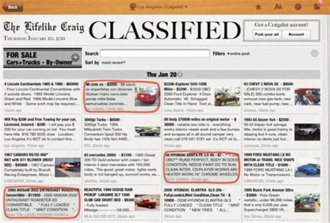 classified ads section of a newspaper craigslist for the ipad