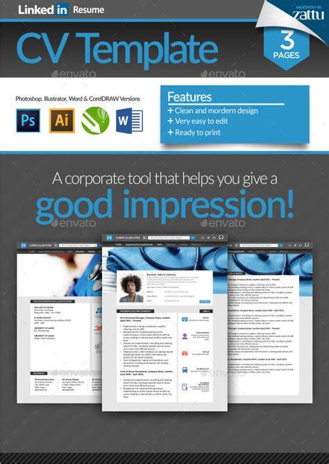 linkedin resume cv template by zattucreative graphicriver