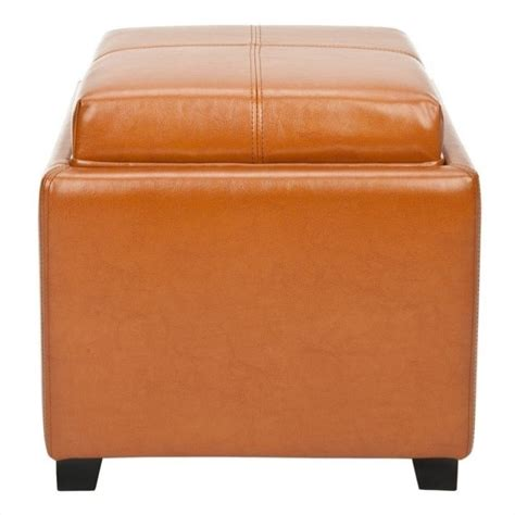 Safavieh Carter Leather Tray Ottoman In Saddle Hud8233c Leather Tray Ottoman