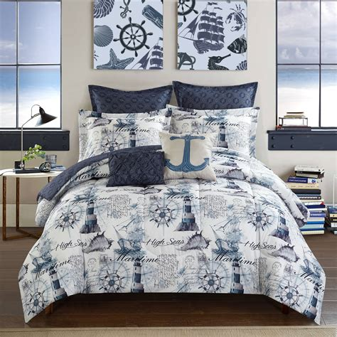 navy blue full size comforter nautical navy blue comforter set full size 7 pc reversible