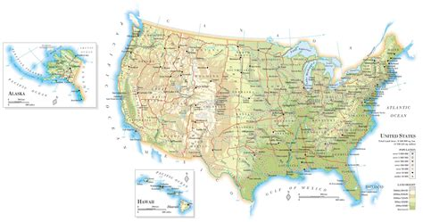 large us road map large detailed road and relief map of the united states