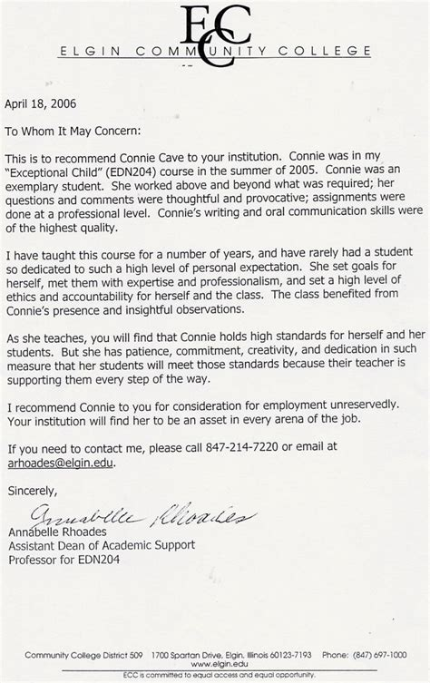 Letter Of Recommendation From College Dean Connie Cave Letters Of Recommendation