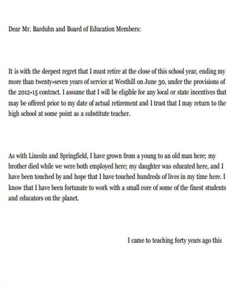 School Board Resignation Letter by 7 Sle School Resignation Letter Free Sle Exle Format