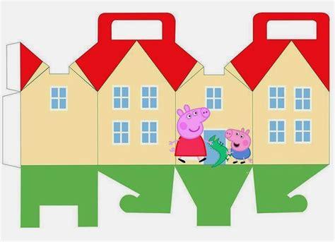 descargar peppa pig peppa y george pig caja con forma de casa para imprimir
