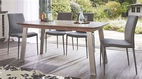 Extending Walnut Dining Table Brushed Metal 8 Seater Extending Walnut Dining Table