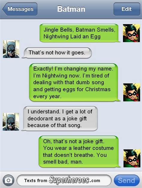 jingle bells batman smells robin laid  egg  robin changed   texts