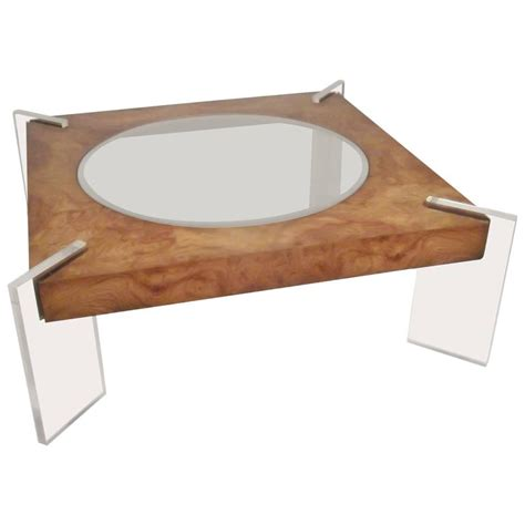 vladimir kagan lucite and burl walnut coffee table for