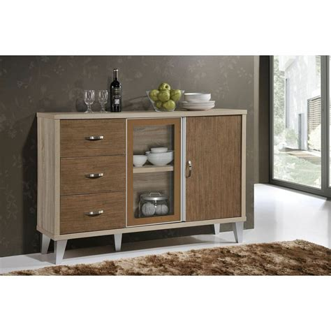 Glass Sideboards by Buffet Sideboard Cabinet Brown Storage Glass Dining Server