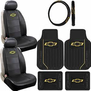 Seat Covers And Car Mats 9pc Chevrolet Chevy Original Elite Logo Rubber Floor Mats