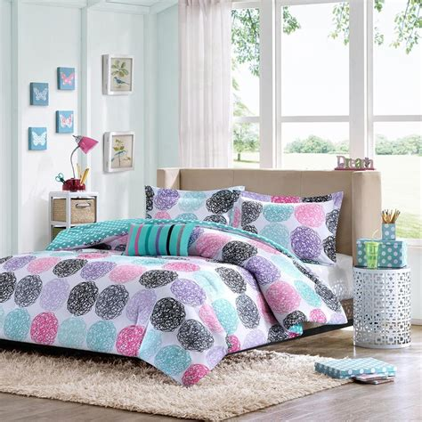 girls comforter modern cute fun blue aqua teal pink purple green polka dot