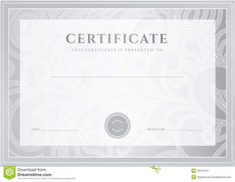 Silver Certificate Diploma Template Award Patter Stock Vector Illustration Of Abstract Watermark Template
