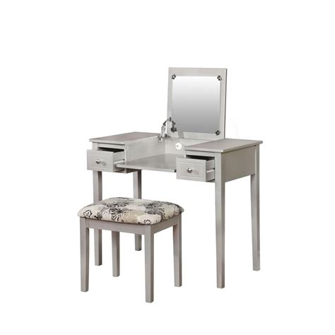 Linon Home Decor Vanity Set Linon Home Decor Butterfly 2 Drawer 2 Vanity Set In Silver 98135sil01 The Home Depot