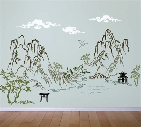 Sticker Wall Decals chinese asian ink landscape scene wall decal sticker