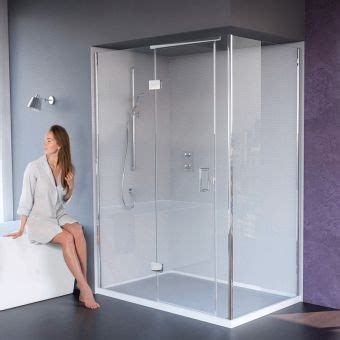 hinged shower doors with inline panels & semi frameless