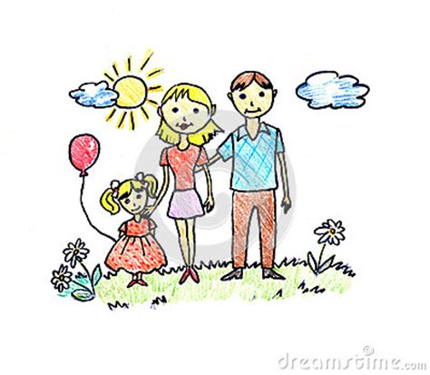 happy family drawing stock illustration image